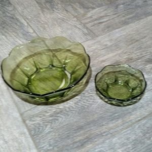 Anchor Hocking Green Set of Chip and Dip Bowls